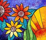 Kolorowych kwiatów obrazu brezentowa cyfrowa grafika royalty ilustracja