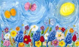 kolorowych kwiatów pełna łąka ilustracja wektor