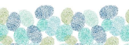 Kolorowych odcisków palca horyzontalny bezszwowy wzór royalty ilustracja