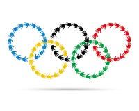 Kolorowych okregów olimpijski emblemat robić z ręka drukami Zdjęcia Royalty Free