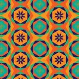 Kolorowych sześciokątów kwiecisty dekorujący bezszwowy wzór w pomarańcze, zieleni i błękicie, ilustracja wektor