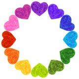 Kolorowych tęcz serc szablonu Ramowy pierścionek royalty ilustracja