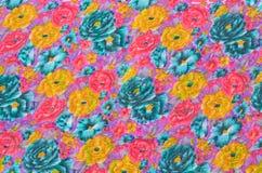 Koloru żółtego, błękita i menchii kwiatów tkaniny tekstura, Fotografia Royalty Free