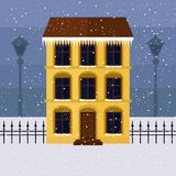 Koloru żółtego dom na zimy ulicie royalty ilustracja