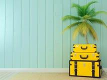 Koloru żółtego drzewko palmowe i torby Zdjęcia Stock