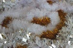 Koloru żółtego i białej świąteczna puszysta zima wakacji dekoracja Zdjęcie Royalty Free