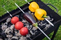 Koloru żółtego i pomarańcze pieprze oberżyna i pomidory na grillu, Zdjęcie Stock