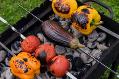Koloru żółtego i pomarańcze pieprze oberżyna i pomidory na grillu, Obraz Stock
