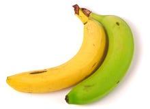 Koloru żółtego i zieleni banan odizolowywający na białym tle obrazy stock