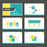 Koloru żółtego i zieleni prezentaci szablonu Infographic elementy i ikona płaskiego projekta broszurki ustalony reklamowy marketi Obraz Royalty Free