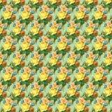 Koloru żółtego i zieleni rocznika róży kwiatu tła tapetowa powtórka ilustracji