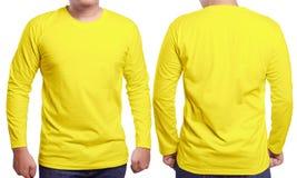Koloru żółtego projekta Długi Sleeved Koszulowy szablon Zdjęcie Stock