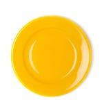 Koloru żółtego pusty talerz Zdjęcia Royalty Free