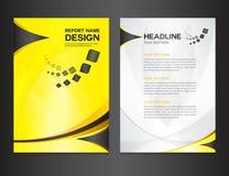 Koloru żółtego sprawozdania rocznego projekta wektoru Okładkowa ilustracja Obrazy Stock