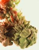Koloru atramentu kropla w wodzie Zieleń, kolor żółty, czerwień, pomarańcze Fotografia Stock