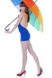 koloru damy trwanie parasolowi potomstwa Fotografia Stock