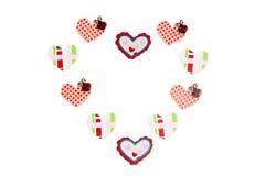 koloru dekoraci serca drewno Obrazy Royalty Free
