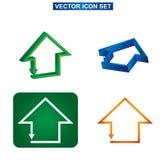Koloru domu i budynku ikony set, Obraz Stock