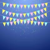 Koloru festiwalu trójgraniasta chorągwiana girlanda Dekoracja sztandar dla urodzinowego wakacje, festiwalu, karnawału i rocznicy, royalty ilustracja