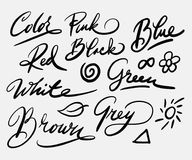 Koloru i ilustraci handwriting kaligrafia zdjęcie stock