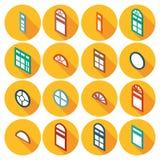 Koloru isometric set płaskie ikony nadokienne Zdjęcia Royalty Free