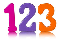 Koloru liczby z odbiciem na biel Obrazy Stock