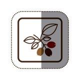 koloru majcheru sylwetka w kwadrat ramie z kawową gałąź Fotografia Stock