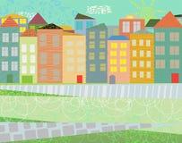 Koloru miasteczko Obrazy Royalty Free