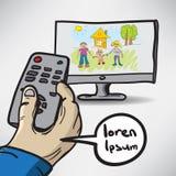Koloru nakreślenia ręka obraca dalej TV który pokazuje rodziny Zdjęcia Royalty Free