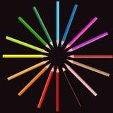 Koloru ołówek na okrąg pozyci ilustracja wektor