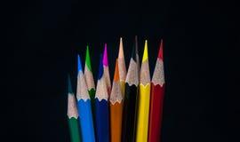 Koloru ołówkowy czarny tło Zdjęcie Royalty Free