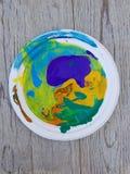 Koloru obraz olejny na palecie z mieszanymi kolorami Zdjęcia Stock