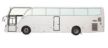 Koloru odosobniony biały autobus Zdjęcia Royalty Free