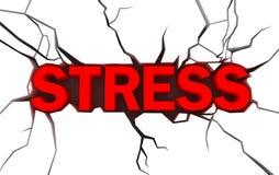 koloru pęknięcia nad czerwonego stresu biały słowem Fotografia Royalty Free