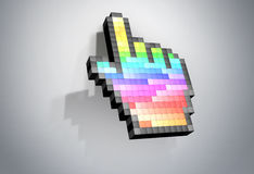 Koloru piksla ręki kursoru komputeru mysz. Obrazy Stock
