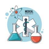 Koloru plakatowy badania medyczne z symbol gwiazdą życie, próbne tubki i atom ikona Zdjęcie Royalty Free