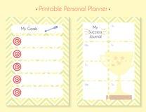 Koloru planisty printable set royalty ilustracja