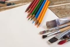 koloru pusty notatnika ołówków miejsca tekst twój Fotografia Stock