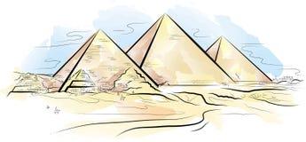 koloru pustynni rysunkowi Egypt Giza piramids Fotografia Stock
