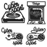Koloru rocznika cyber sporta emblematy ilustracji