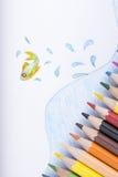 Koloru rysunek i ołówki Fotografia Stock