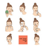 Koloru set z kobietami przewodzi w różnych warunkach, nastroju i kącie, Kosmetologii procedury jak traktowanie f i twarzowe maski Fotografia Royalty Free