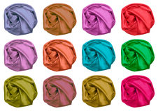 Koloru set zmięta jedwabnicza tkanina Zdjęcie Stock