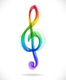 Koloru treble abstrakcjonistyczny clef Fotografia Royalty Free