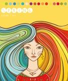Koloru typ dziewczyna - wiosna 10 eps dziewczyny ilustracyjny wiosna wektor Kolory dla typ Obraz Stock