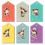 Koloru ustalone etykietki z małpami Fotografia Stock