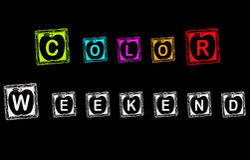 Koloru Wekend zabawy pudełka blackboard pojęcie Zdjęcia Royalty Free