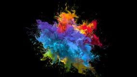 Koloru wybuch iryzuje stubarwnego tęcza proszka wybuchu atramentu rzadkopłynne cząsteczki royalty ilustracja