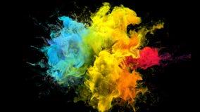 Koloru wybuch iryzuje stubarwnego tęcza proszka wybuchu atramentu rzadkopłynne cząsteczki ilustracja wektor