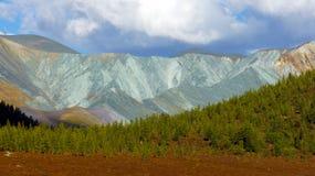 Koloru Yarlu dolinna rzeka w Altai górach Zdjęcia Stock